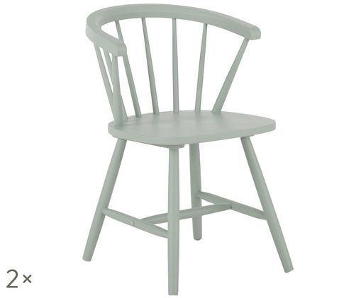 Krzesło z podłokietnikami z drewna naturalnego w stylu windsor Megan, 2 szt., Szałwiowa zieleń