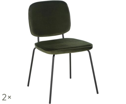 Sedia imbottita in velluto Jasper, 2 pz., Verde scuro