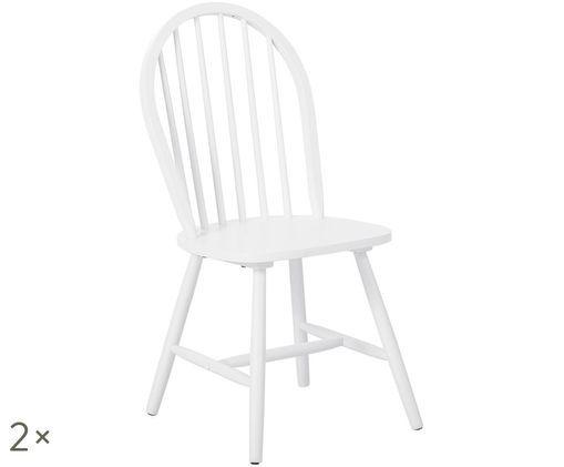 Krzesło z drewna w stylu windsor Jonas, 2 szt., Biały
