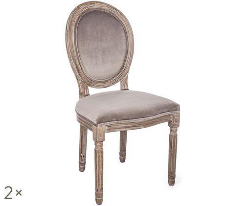Fluwelen stoelen Mathilde, 2 stuks, Bekleding: grijsbruin. Frame: berkenhoutkleurig met antieke afwerking