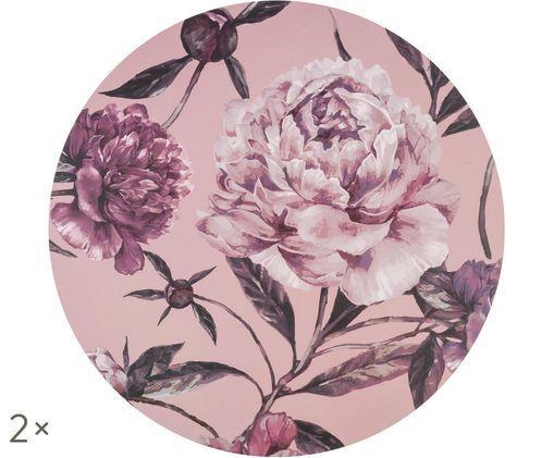 Tovaglietta di plastica rotonda Secret Garden, 2 pz., Tonalità rosa, verde