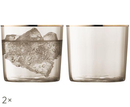 Szklanka do wody ze szkła dmuchanego Sorbet, 2 szt., Brązowy, odcienie złotego