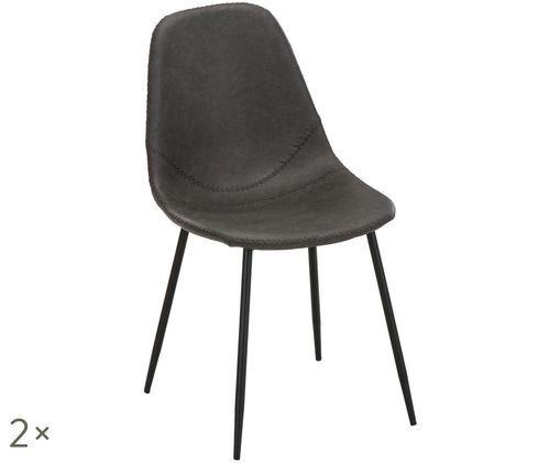 Kunstleren stoelen Linus, 2 stuks, Bekleding: donkergrijs. Poten: mat zwart
