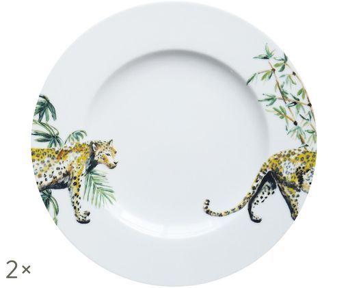 Piatto da colazione Panther, 2 pz., Bianco, giallo, marrone, verde, nero