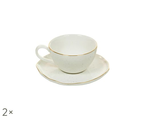 Set tazzine da caffè fatte a mano Bol, 4 pz., Bianco crema