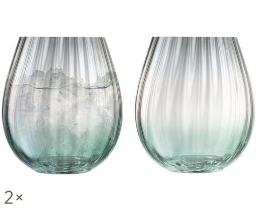 Bicchieri per l'acqua fatti a mano Dusk con struttura a gradiente e scanalatura, set di 2, Verde, grigio