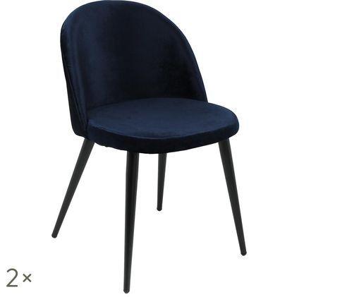 Fluweel gestoffeerde stoelen Amy, 2 stuks, Bekleding: marineblauw. Poten: zwart