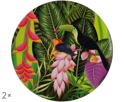 Piatti piani Tropical Bird, 2 pz., Verde, rosa, lilla, arancione, nero