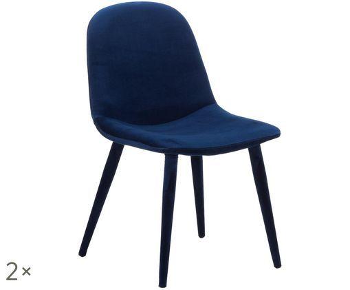 Chaises en velours rembourrées Margot, 2pièces, Bleu marine