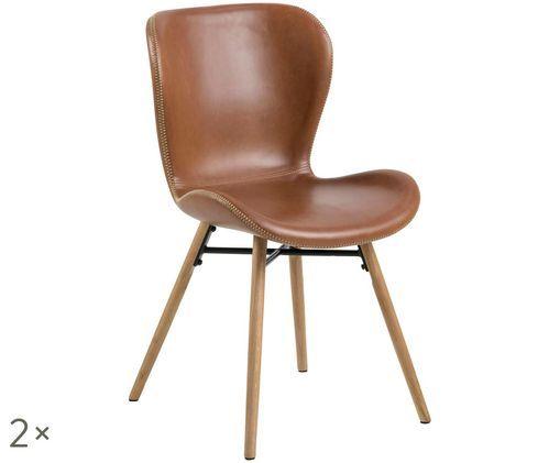 Chaises en cuir synthétique rembourrées Batilda, 2pièces, Cognac, bois de chêne