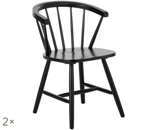 Sedie con braccioli Windsor Megan in legno, 2 pz., Nero