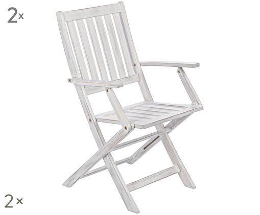 Składane krzesło ogrodowe Patty, 2 szt., Biały