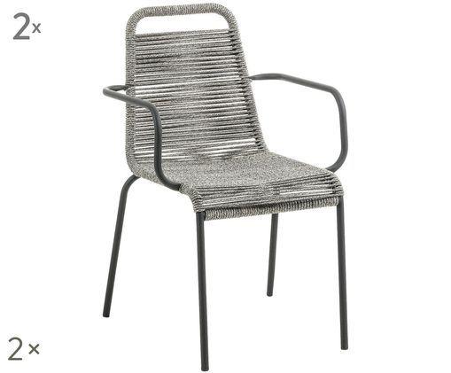 Krzesło z podłokietnikami Lambton, 2 szt., Czarny, jasny szary