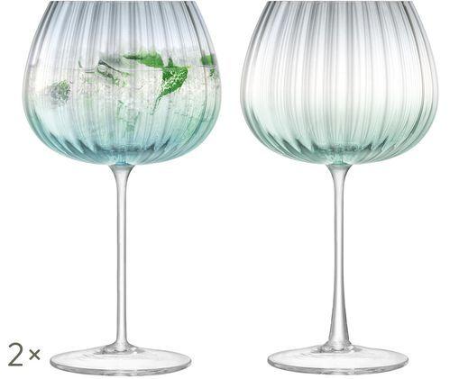Bicchieri da vino fatti a mano Dusk con struttura a gradiente e scanalatura, set di 2, Verde, grigio