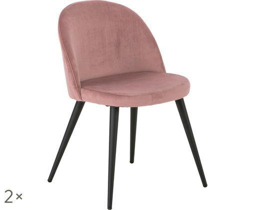Fluweel gestoffeerde stoelen Amy, 2 stuks, Roze