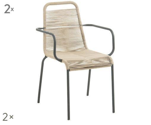 Krzesło z podłokietnikami Lambton, 2 szt., Czarny, jasny brązowy