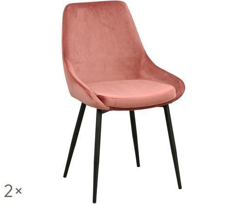 Krzesło tapicerowane z aksamitu Sierra, 2 szt., Blady różowy, czarny