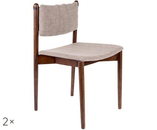 Gestoffeerde stoelen Torrance, 2 stuks, Beige, acaciahoutkleurig