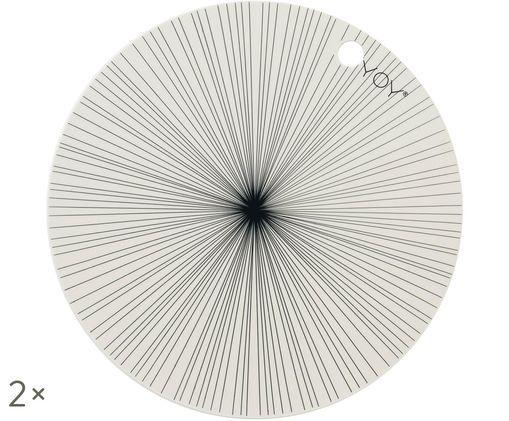 Sets de table ronds en silicone Ray, 2pièces, Blanc cassé, noir