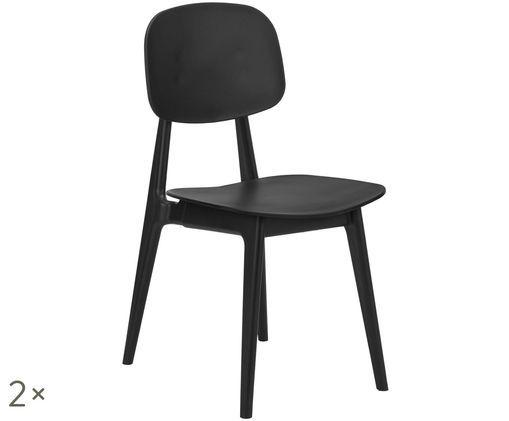 Chaises en plastique Smilla, 2 pièces, Noir, mat