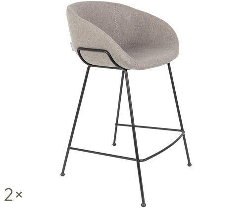Chaises de comptoir Feston, 2pièces, Gris