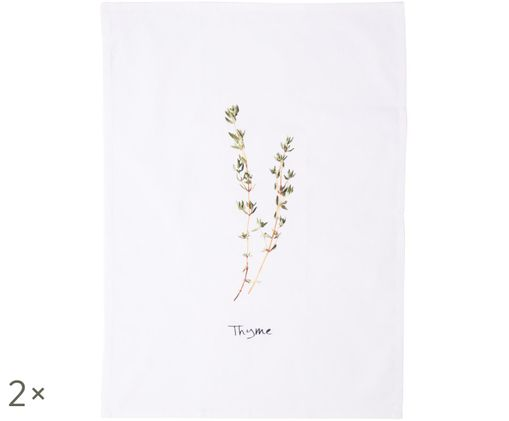 Strofinaccio Thyme, 2 pz., Bianco, verde
