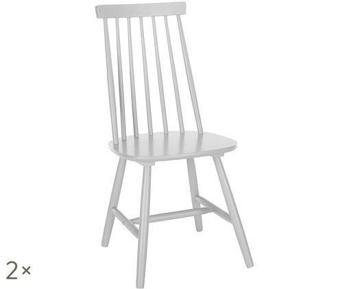 Sedia in legno Milas, 2 pz., Grigio chiaro
