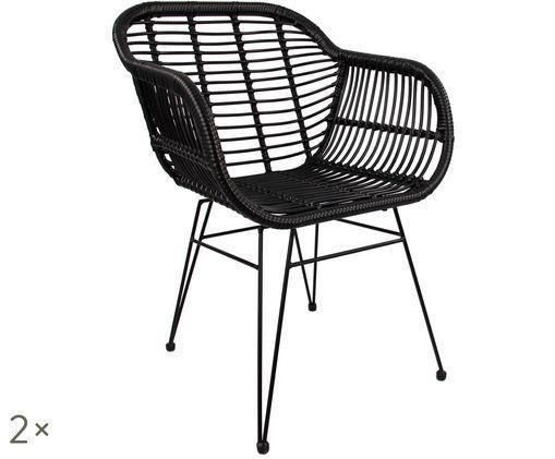 Chaises à accoudoirs Costa, 2pièces, Coque: noir Structure: noir