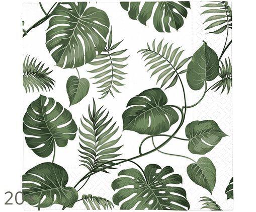 Sevilletas de papel Monstera, 20uds., Blanco, verde