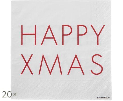 Tovaglioli di carta Happy Xmas, 20 pz., Bianco, rosso