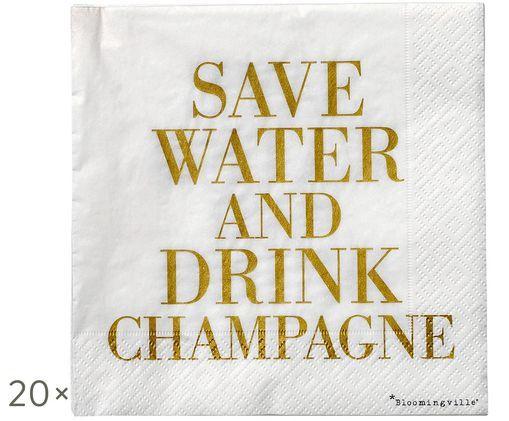 Tovaglioli di carta Save Water, 20 pz., Dorato, bianco