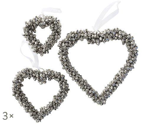 Set cuori decorativi con campanelini Halina 3 pz, Metallo, bianco