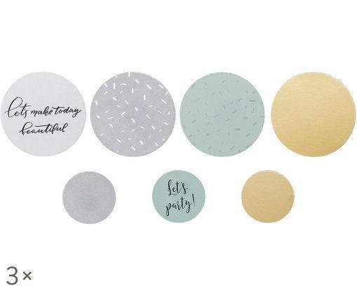 Set confetti Round, 21 pz., Bianco, grigio, verde menta ,dorato