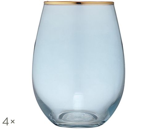 Szklanka do wody Chloe, 4 szt., Jasny niebieski, odcienie złotego