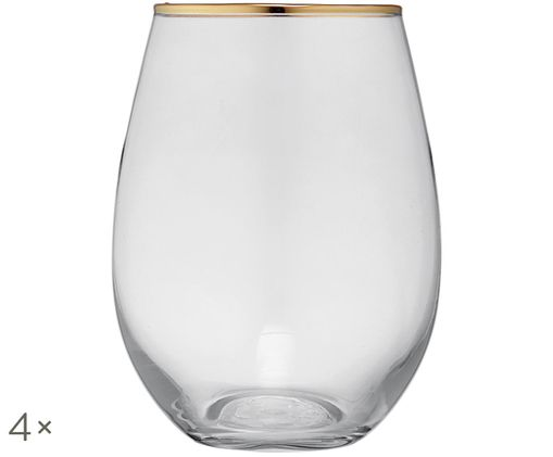 Bicchieri per l'acqua Chloe, 4 pz., Trasparente, dorato