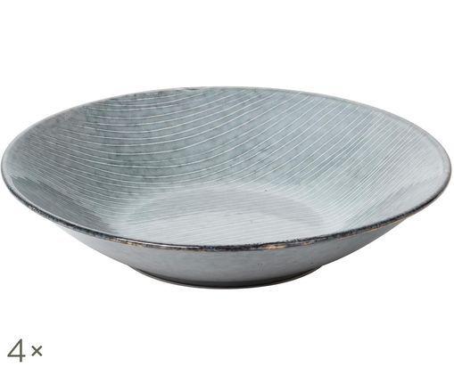 Platos hondos artesanales Nordic Sea, 4uds., Tonos de gris y azul