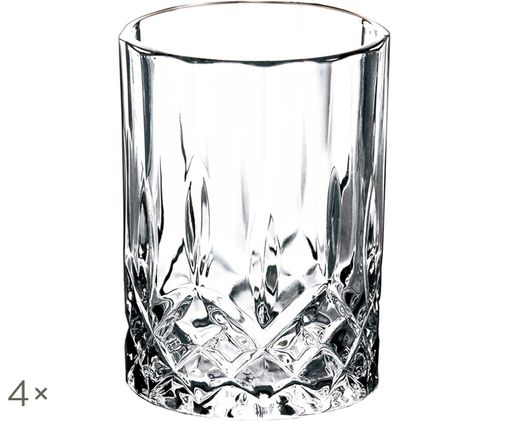 Bicchieri Harvey con motivo in rilievo, 4 pz. nel set, Trasparente
