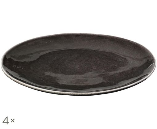 Assiettes plates faites à la main Nordic Coal, 4pièces, Tons bruns