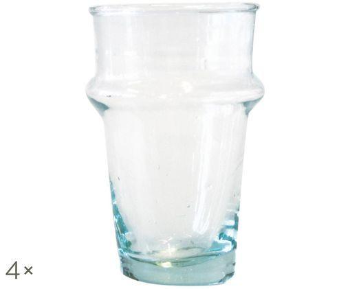 Szklanka do wody ze szkła dmuchanego Morocco, 4 szt., Turkusowy, transparentny