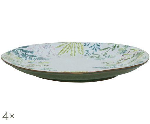Piatto da colazione Mon Jardin, 4 pz., Verde-, tonalità blu