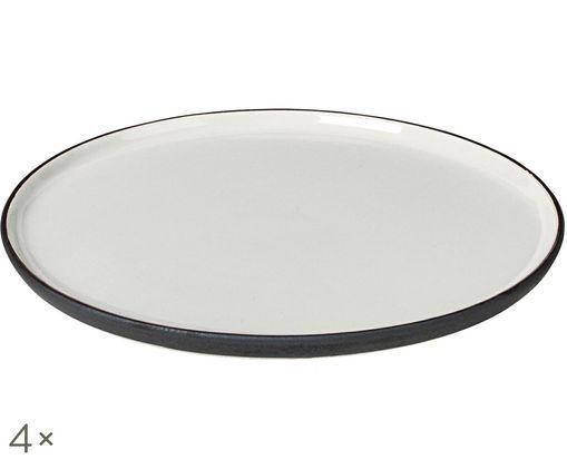 Piatto da colazione fatto a mano Esrum, 4 pz., Avorio, marrone grigio