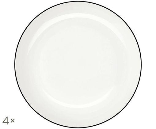 Piatto da pasta á table ligne noir, 4 pz., Bianco Bordo: nero