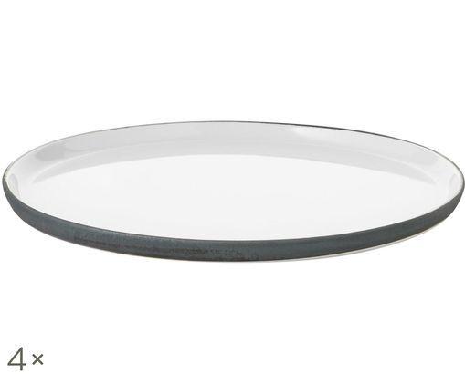 Assiettes plates faites à la main Esrum, 4 pièces, Blanc ivoire, gris-brun