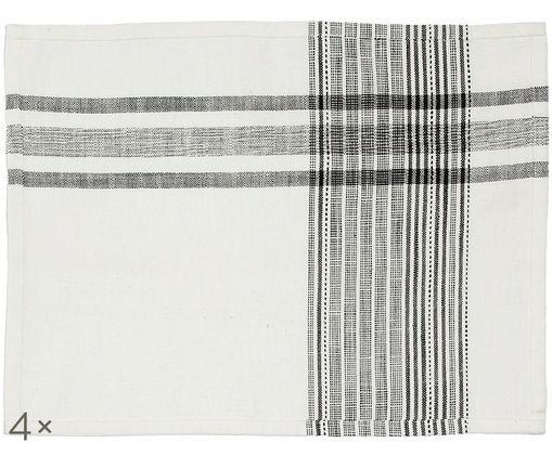 Set tovagliette Sasel, 4 pz., Bianco, nero