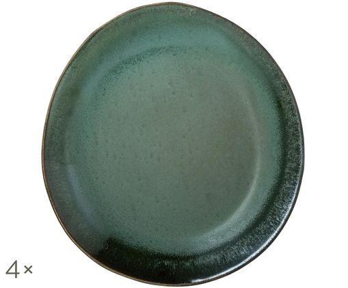 Piatto da colazione fatto a mano 70's, 4 pz., Verde, blu, bianco