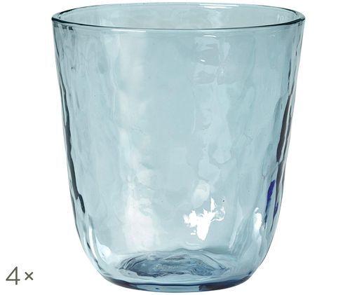 Szklanka do wody ze szkła dmuchanego  Hammered, 4 szt., Niebieski, transparentny