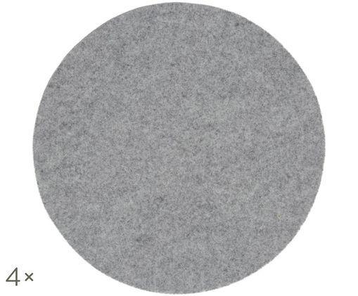 Tovaglietta in feltro di lana Leandra, 4 pz., Grigio chiaro