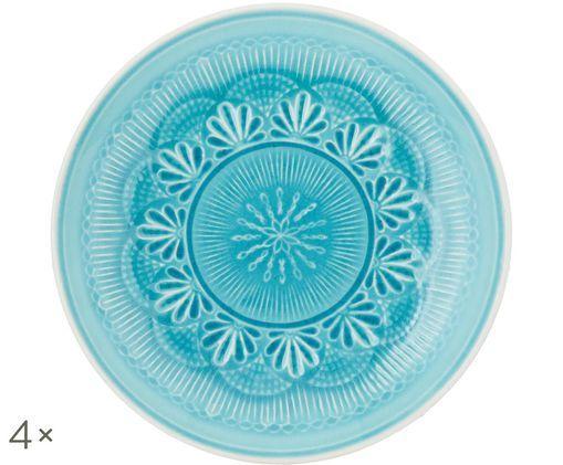 Piatto da colazione Nadia, 4 pz., Blu verde, bianco
