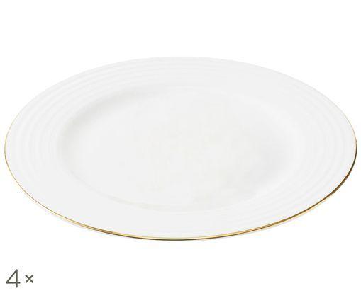 Piatto piano Cobald, 4 pz., Bianco, dorato