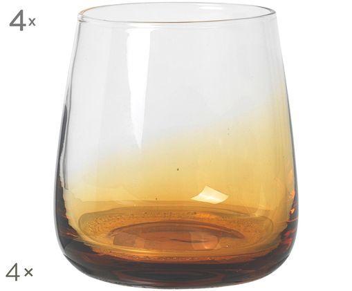 Szklanka ze szkła dmuchanego Amber 4 szt., Transparentny, bursztynowy